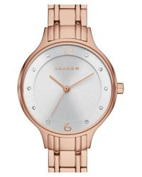 Skagen - Metallic 'anita' Crystal Index Bracelet Watch - Lyst