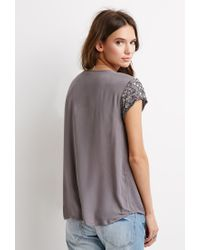 Forever 21 | Gray Bead-embellished Top | Lyst