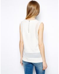 ASOS - Natural Sheer Panel Textured Shell Top - Lyst
