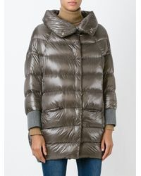 Herno - Gray Funnel-Neck Quilted jacket  - Lyst
