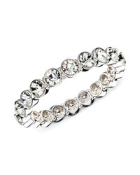 Nine West - Metallic Silvertone Crystal Stretch Bracelet - Lyst