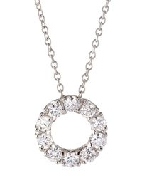 Roberto Coin | Metallic 18k Gold Necklace With Small Diamond Circle Pendant | Lyst