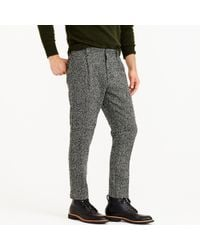 J.Crew | Pleated Trouser In Black And White Tweed for Men | Lyst
