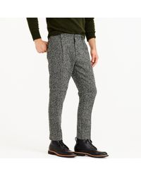 J.Crew | Gray Pleated Trouser In Black And White Tweed for Men | Lyst