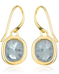 Monica Vinader | Metallic Gold Vermeil Aquamarine Siren Drop Earrings | Lyst