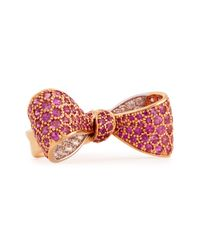 Mimi So | Bow Mid Size 18K Rose Gold Pink Sapphire & Diamond Ring | Lyst