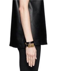 Alexander McQueen | Black Double Wrap Skull Ring Leather Bracelet | Lyst