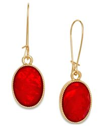 INC International Concepts | Gold-tone Red Oval Stone Drop Earrings | Lyst