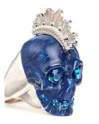 Alexander McQueen | Blue Plexiglas Mohawk Skull Ring | Lyst