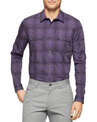Calvin Klein | Purple Liquid Cotton Twill Dobby Plaid Sportshirt for Men | Lyst