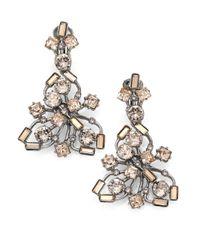 Oscar de la Renta - Metallic Firework Crystal Clip-On Drop Earrings - Lyst