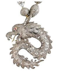 Amrapali | Metallic Silver And Diamond Dragon Charm Necklace | Lyst