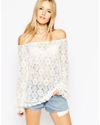 ASOS - Natural Tunic Top With Off Shoulder In Pretty Lace - Lyst