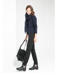 Mango - Black Zip Cotton Trousers - Lyst