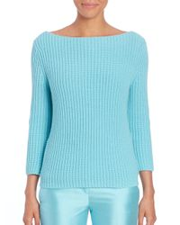 Michael Kors - Blue Ribbed Cashmere Sweater - Lyst