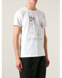 Jimi Roos | White Pony Embroidered T-shirt for Men | Lyst