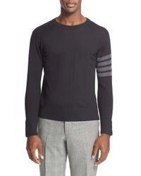 Thom Browne - Black Trim Fit Wool Crewneck Sweater for Men - Lyst