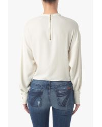 7 For All Mankind Natural Open Blouse Sleeve Top