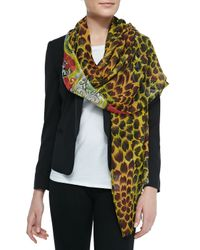 Etro - Green Double-Sided Floral/Paisley Scarf - Lyst