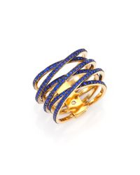 Michael Kors | Blue Parisian Jewels Pavé Crisscross Ring | Lyst