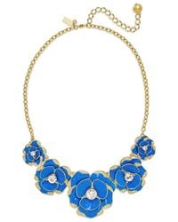 kate spade new york - 12k Gold-plated Blue Crystal Bouquet Frontal Necklace - Lyst