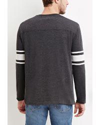 Forever 21 | Gray Striped-sleeve Tee for Men | Lyst