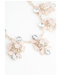 Missguided | Pink Clodagh Floral Cluster Statement Necklace Gold | Lyst