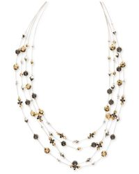Nine West | Multicolor Tri-tone Beaded Illusion Necklace | Lyst