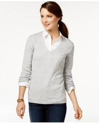 Tommy Hilfiger | Gray French Knot V-neck Sweater | Lyst