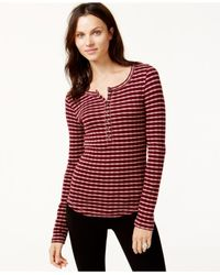 Lucky Brand | Purple Lucky Brand Striped Thermal Top | Lyst