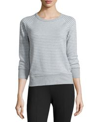 James Perse | Gray Striped Raglan Sweatshirt | Lyst