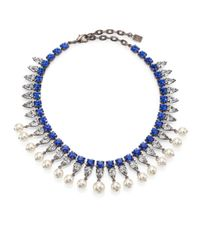 DANNIJO - Blue Alta Crystal & Faux Pearl Necklace - Lyst