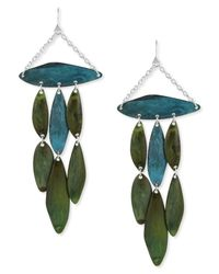 Robert Lee Morris | Silver-tone Blue And Green Patina Petal Chandelier Earrings | Lyst
