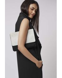TOPSHOP - White Pony Flap Suedeclutch Bag - Lyst