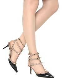 Valentino - Black 65mm Rock Stud Patent Pointy Sandals - Lyst