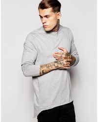ASOS - Gray Super Longline Skater Long Sleeve T-shirt With Pleated Back for Men - Lyst
