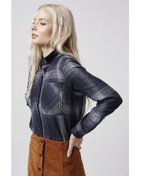 TOPSHOP - Blue Herringbone Check Shirt - Lyst