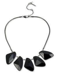 Kenneth Cole - Black New York Hematite-Tone Geometric Bead Frontal Necklace - Lyst
