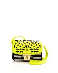 Henri Bendel - Yellow Brown White Stripe Laser Cut Mini Bag - Lyst