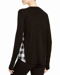 Aqua | Black Cashmere Cashmere Savannah Plaid Inset Sweater | Lyst