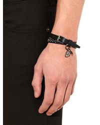 Alexander McQueen - Black Studded Wraparound Leather Bracelet for Men - Lyst