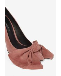 Jeffrey Campbell - Pink Grandame Suede Bow Pump - Dusty Rose - Lyst