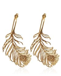 Alex Monroe - Metallic Gold-plated Peacock Feather Earrings - Lyst