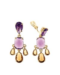 Brooks Brothers - Purple Amethyst & Topaz Earrings - Lyst