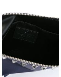 Valentino - Blue Rockstud Leather Clutch for Men - Lyst