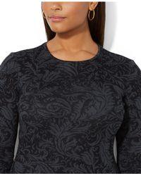 Lauren by Ralph Lauren - Black Plus Size Longsleeve Floralprint Top - Lyst