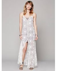 Free People | White Queen Of Flowers Maxi Slip | Lyst