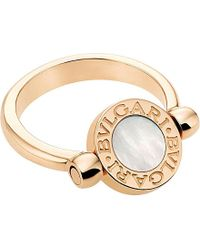 BVLGARI | Metallic - 18Ct Pink-Gold, Black-Onyx And Mother-Of-Pearl Ring - For Women | Lyst