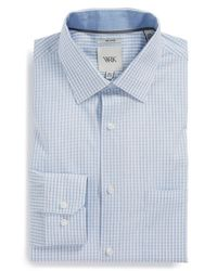 W.r.k. | Blue Extra Trim Fit Melange Check Dress Shirt for Men | Lyst