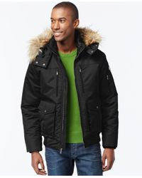 Sean John | Black Faux-fur-trim Hooded Bomber Jacket for Men | Lyst